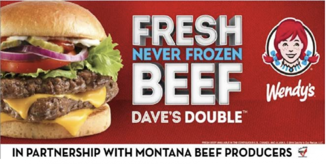 image of a wendys burger ad paid for by checkoff